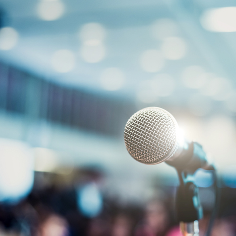 microphone placed on a podium