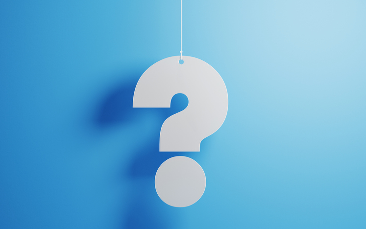 Question mark against a blue background
